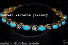 14.90cts Antique Cut Diamond Turquoise Victorian Tennis Bracelets Bangle Jewelry