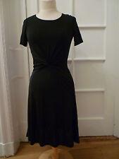 NWT: HALSTON HERITAGE Black Jersey Short Sleeve Dress w/ Twist Detail, XXS