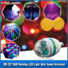 E27 RGB Crystal Ball Rotating LED Stage Light Bulbs Sound Activated Party Lamp