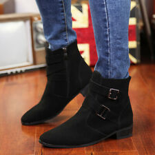 Mens Suede Pointed Toe Buckle Side Zip Chelsea Ankle Boots Casual High Top Shoes