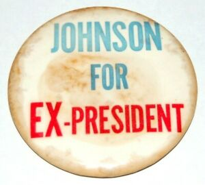 1964 BARRY GOLDWATER JOHNSON FOR EX-PRESIDENT LBJ Lyndon campaign pinback button