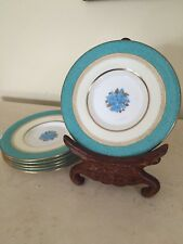 "Wedgwood Turquoise Plates W 3785 Set Of 6! Raised Floral Center England 4.75"""