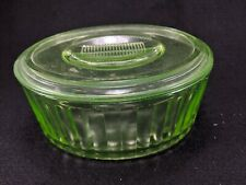 Vintage Uranium Green Ribbed Oval Glass Refrigerator Canister w/ Lid