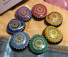 Alchemy Stones — Set of 7 Handpainted Mandala Stones — Med. Chakra Stones + Bag