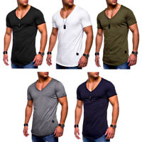 2018 Men Slim Fit Short Sleeve V Neck T-shirt Muscle Tee Shirt Casual Top Blouse
