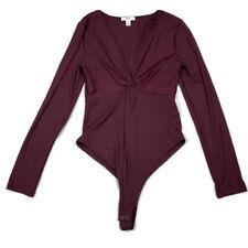 Bar III Burgundy Long Sleeve Snap Close Body Suit Medium M