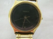 Vintage Mens Gold Plated Tissot Quartz Wristwatch Watch New Battery Wkg Well
