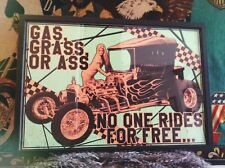 Gas Grass Ass Hot Rod Rat babe framed print poster glass ford chevy sign racing