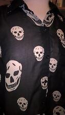 CMH White Skulls on Black Shear Sleeveless Casual Blouse Tie Sz L Large BB130