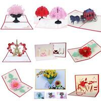 HN- 3D Pop Up Flower Series Greeting Card Handmade Lover Valentine's Day Gift Ey