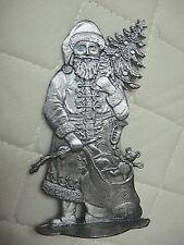 ELEGANT PEWTER SANTA WITH TOY BAG - STANDS ON A SURFACE