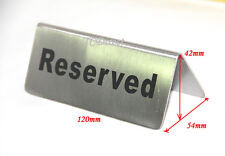 "2x Quality Stainless Steel Table Sign ""RESERVED"", 120mm"