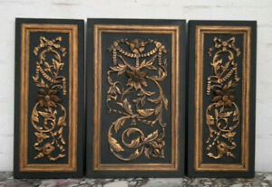 TRIO OF STRIKING LARGE ANTIQUE FRENCH CARVED OAK PANELS - C1900