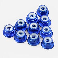 10PCS ALIENTAC Aluminum M4 Blue Nylon Hex Insert Flange Collar Self-Lock Nuts