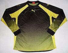 Men's Authentic PUMA Shirt Size M Athletic Black Yellow Longsleeve Jersey