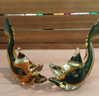 Murano Italy Early Pair of Stylized Fish Green & Amber Centers