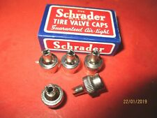 VINTAGE- Schrader  Chrome Tire Valve Stem Caps - Lot Of  5 - MADE IN USA