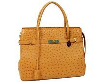 Off-Brand Unbranded JRA Ostrich Exotic Leather Hand Bag Camel Excellent N926