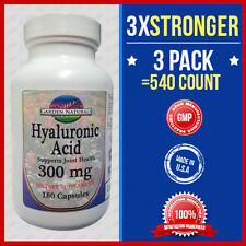 3 Pack Hyaluronic Acid 200mg Max Strength + 100=3x Stronger 540 Caps #1Made USA