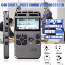 Digital LCD Audio Sound  Audio Sound Recorder Dictaphone+MP3 Player 64GB Max