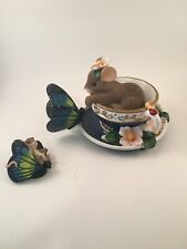 charming tails - friendship is your special tea figurine with matching lapel pin