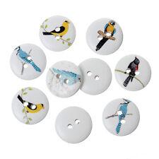 25 Botones Madera Pájaro Diseños Surtidos 15mm Coser Accesorios Manualidades Free P &