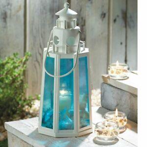 "10"" Blue Glass Nautical Beach Lighthouse Candle Holder Lantern Statue"