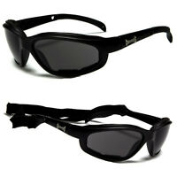 New All Black Chopper Padded Wind Resistant Sunglasses Motorcycle Riding Glasses