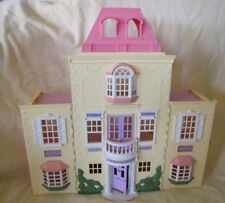 FISHER PRICE Loving Family TWIN TIME YELLOW FOLDING DOLLHOUSE Pink Roof Grand