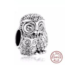 Owl & Owlet REAL 925 Sterling Silver Charm Bead Spacer Gift Bracelet Mum Baby
