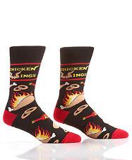 Yo Sox Men's Crew Socks Flaming Wings and Hot Sauce Design  Fits Men's Size 7-12