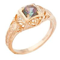 14Kt Rose Gold Plated Natural Mystic Topaz & Diamond Round Ring