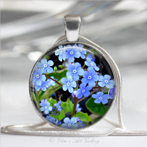 Silver Plated Forget Me Not Flower Photo Necklace