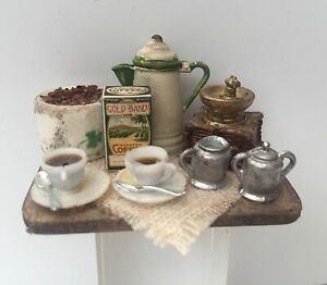 RUSTIC FRENCH COFFEE DISPLAY BOARD SET SIGNED DOLLS HOUSE DOLLHOUSE KITCHEN