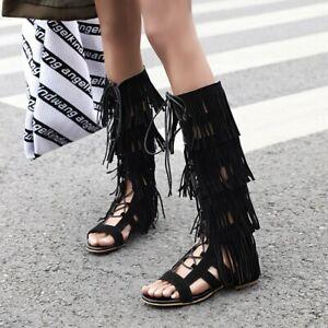 Women Tassel Flat Sandals Calf High Boots Lace Up Hollow Out Open Toe Zip Casual