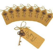 50× Skeleton Key Bottle Opener + Tag Card Baby Shower Wedding Party Gift Favors