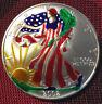 2002 Silver Dollar Coin ~ 1 oz AMERICAN EAGLE ~ Color Walking Liberty .999 Fine