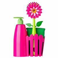 Vigar Flower Power Pink 3pc Sink Side Dish Washing Caddy Set w/ Soap Dispenser