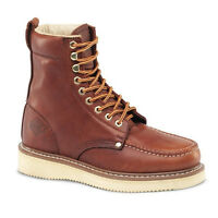 "New Mens Burgundy 8"" Mocc Toe Leather WP Work Boots BONANZA 829 Size 6-12 (D, M)"