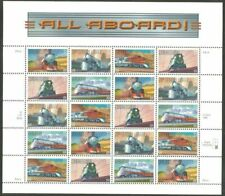 US, #3333-37 All Aboard Trains - Complete sheet of 20 plate P4444 MNH
