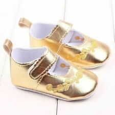 NEW Baby Girls Gold Mary Jane Crib Shoes 6-9 Months