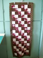 AF0673 Handmade TEXAS A & M PATCHWORK BED TABLE RUNNER Top Only 59 x 22 quilt