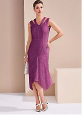 Elegant Magenta Lace Overlay Dress with Cut out Detail Size 12