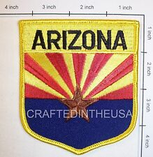 Arizona State Flag Shield Embroidered Patch Sew Iron On Biker Vest Applique New