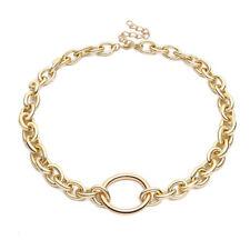 Punk Gothic Women Big Round Circle Chunky Chain O Ring Choker Necklace Bracelet