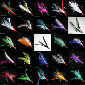 New 25pcs Fishing Hooks Treble With Feather Minnow Fishing Lures Crankbaits 6#