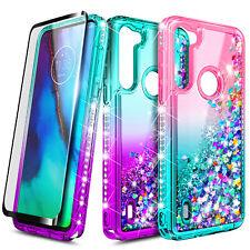 For Motorola Moto G8 Power Lite Case Liquid Glitter Bling Cover + Tempered Glass