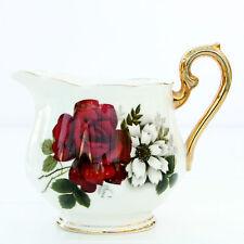 Vintage Royal Imperial Bone China Dark Red Roses Floral Milk Jug