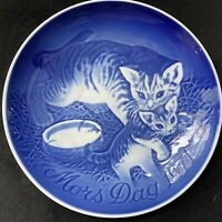 1971 BING & GRONDAHL MOTHER'S DAY PLATE CAT & KITTEN MORS DAG BLUE COPENHAGEN