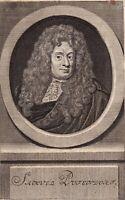 Portrait XVIIIe Samuel von Pufendorf Droit Juriste Dorfchemnitz Allemagne